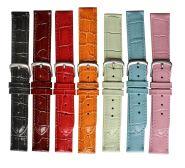 Horlogeband crocoprint 22mm 91205 C 01 zwart
